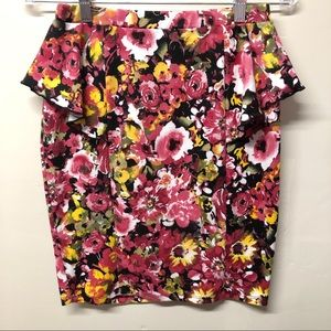 Xhilaration Floral Peplum Pencil Skirt Size Medium